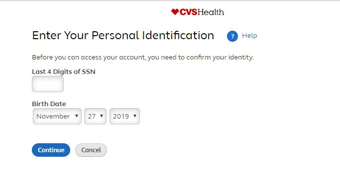 CVS reset password