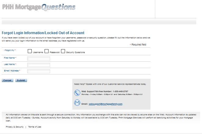 retrieve username or password on mortgagequestions