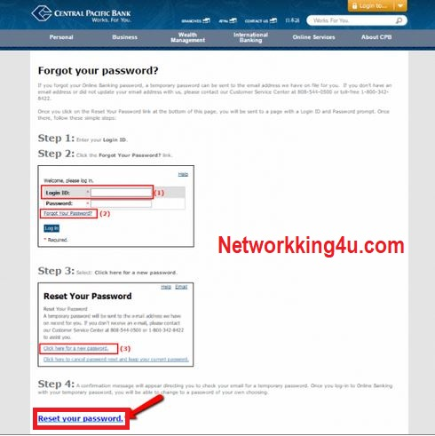 Central pacific bank reset password