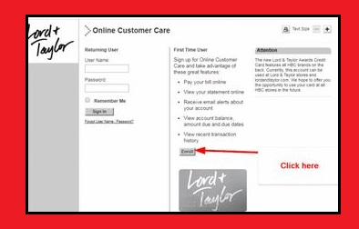 Lord and Taylor credit card registration