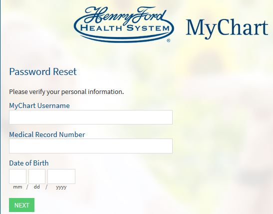 Henry Ford MyChart reset password