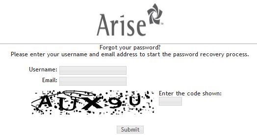 Arise Portal reset password